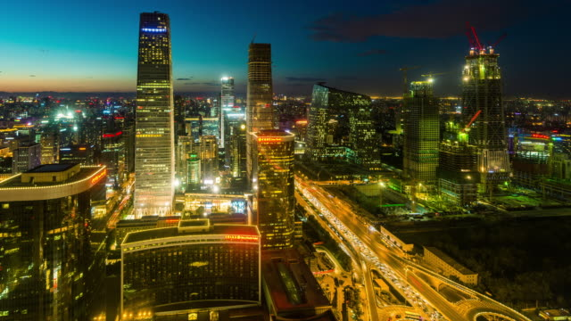 Time Lapse- Beijing CBD and CCTV Building, Night (WS HA Zoom out)
