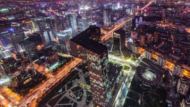 Time Lapse- Beijing CBD and CCTV Building, Night