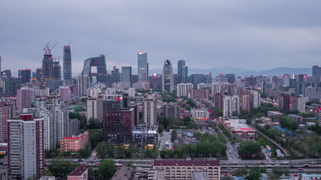 Time Lapse- Beijing Central Business District, from Day to Dusk (WS HA)