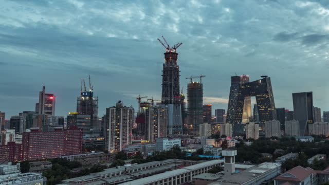 Time Lapse- Beijing Central Business District, from Day to Night