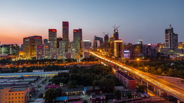 Time Lapse- Beijing Central Business District, Night to Day Transition (Zoom)