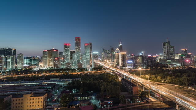 Time Lapse- Beijing Central Business District, Night (WS HA Panning)