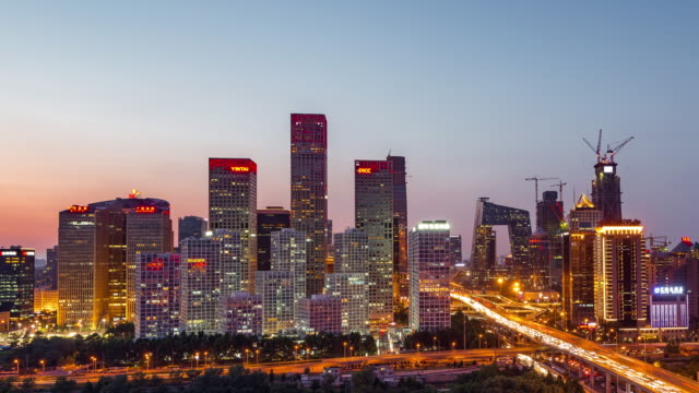 Time Lapse- Beijing Urban Skyline at Dawn, from Night to Day