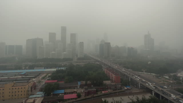 Time Lapse- Beijing Urban Skyline in air pollution