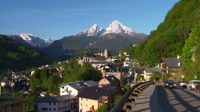 Time Lapse. Berchtesgaden against the Watzmann Mountain (2713m). Berchtesgaden, Watzmann, Upper Bavaria, Bavaria, Germany