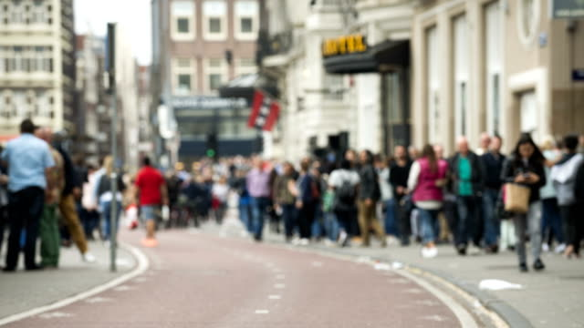 time lapse bicycle commuters and pedestrians in amsterdam - amsterdam stock videos & royalty-free footage