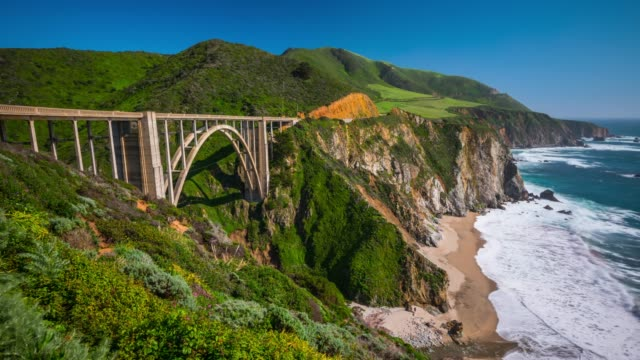 time lapse: bixby bridge in monterey county california - 1932 stock videos & royalty-free footage