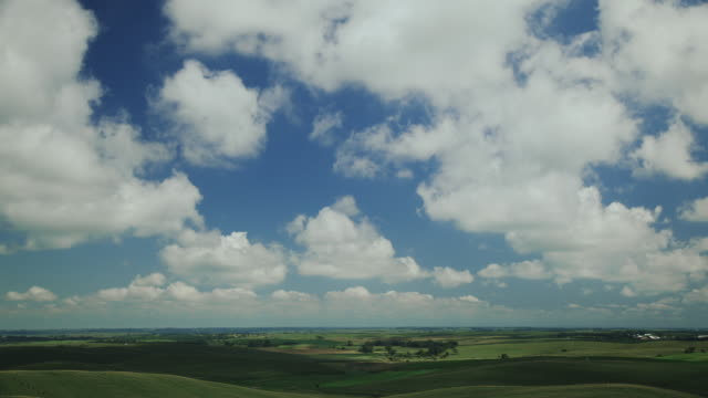 Time lapse blue sky clouds over green fields