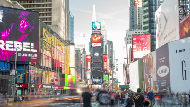ms time lapse bustling times square,new york city,new york,united states - manhattan theater district stock videos and b-roll footage