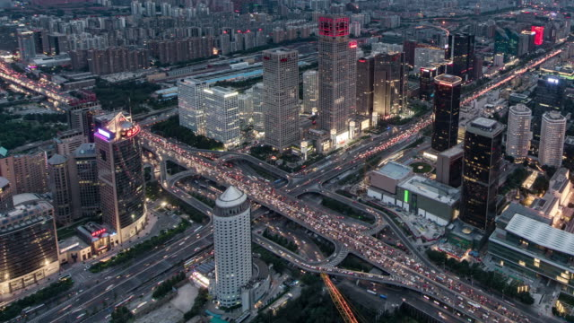 Time Lapse- Busy Road Intersection in Beijing, Day to Night Transition (ZI)