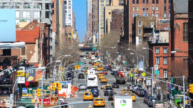 4k time lapse : busy traffic manhattan street - new york stock videos & royalty-free footage