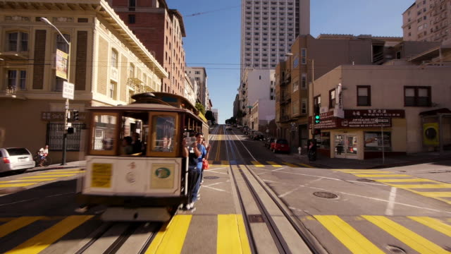 time lapse pov cable car in san francisco. all the way through sf in 90 seconds. - tram stock videos & royalty-free footage