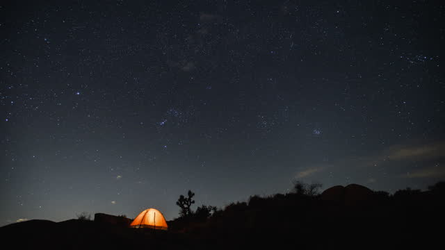 time lapse camping in the desert under the stars at night. - joshua tree national park stock videos & royalty-free footage