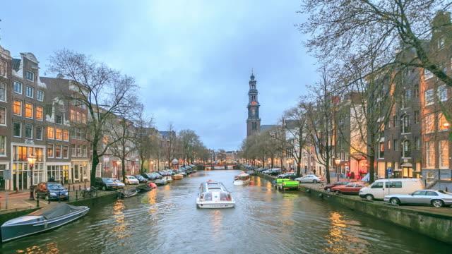 4 k time lapse (低速度撮影):アムステルダムの運河 - 北ホラント州点の映像素材/bロール