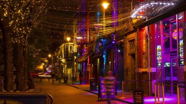 time lapse canal street at night, manchester - nightlife stock videos & royalty-free footage