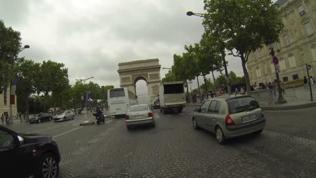 Time lapse car driving trought Paris downtown