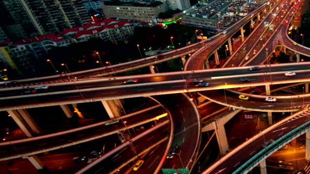 time lapse: car moving fast on the Shanghai overpass in the night