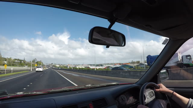 time lapse car passenger point of view looking at highway 01 in auckland new zealand - car point of view stock videos & royalty-free footage
