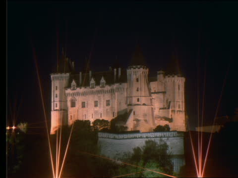 time lapse castle (saumur chateau) at night / france - castle stock videos & royalty-free footage