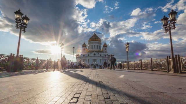 4k time lapse - cathedral of christ the saviour. famous place of moscow. russia. - moscow russia stock videos & royalty-free footage