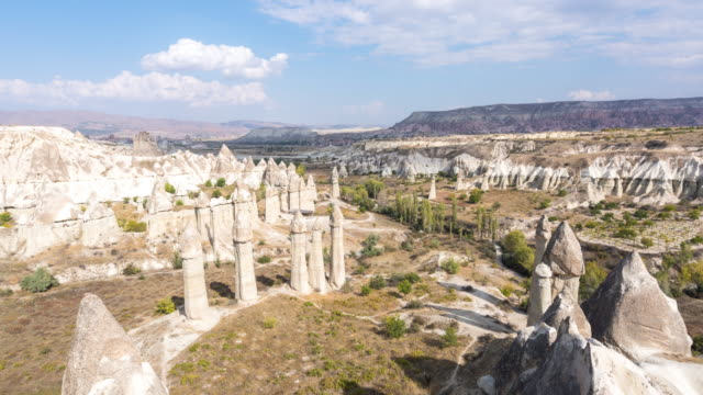 time lapse : cave houses  cappadocia region valley, canyon, hills located between the volcanic mountains - cliff dwelling stock videos & royalty-free footage