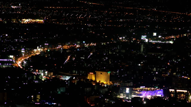 time lapse chiang mai , thailand cityscape from doi suthep chiangmai night view point - population explosion stock videos and b-roll footage