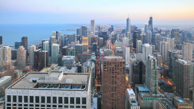 4k time lapse : chicago skyline - chicago loop stock videos and b-roll footage
