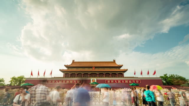 time lapse- china, beijing, tiananmen gate (ws la panning) - tiananmen square stock videos and b-roll footage