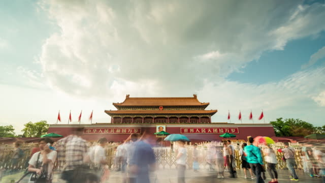 time lapse- china, beijing, tiananmen gate (ws la zoom out) - tiananmen gate of heavenly peace stock videos & royalty-free footage