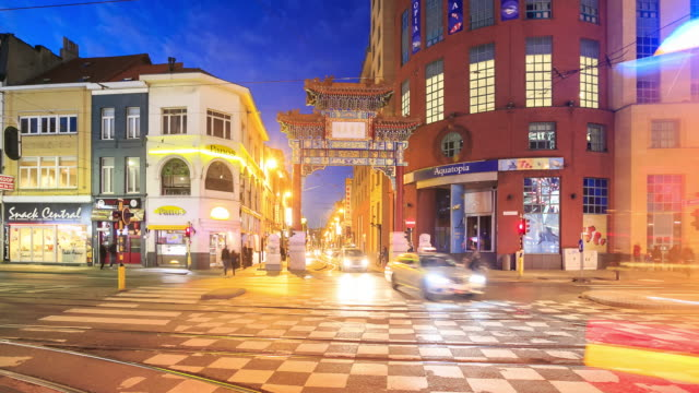 4K Time Lapse : china town in Antwerp