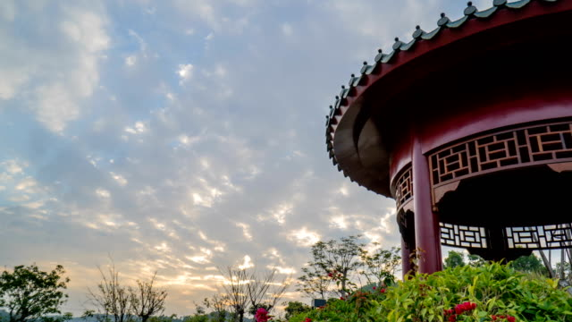 Time Lapse - Chinese Style Building at Sunset