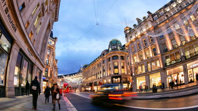 4k time lapse christmas & shopping on oxford street, london - oxford street london stock videos and b-roll footage