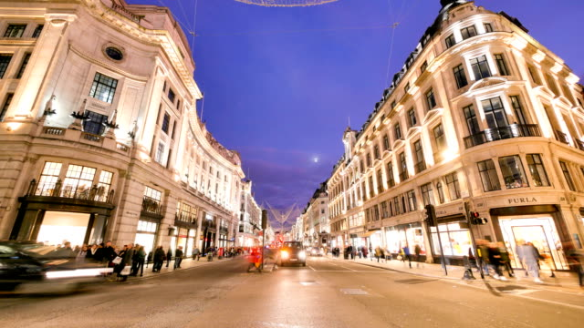 4k time lapse christmas & shopping on oxford street, london - oxford circus stock videos and b-roll footage