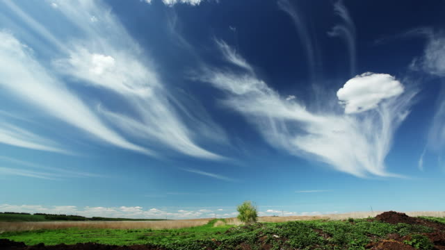 time lapse cirrus clouds - horizon over land stock videos & royalty-free footage