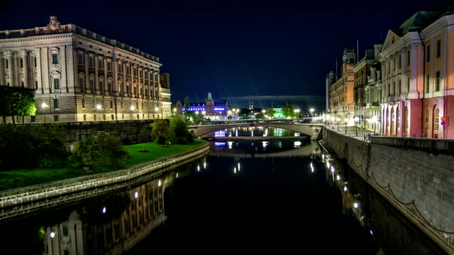 hd time lapse: city canal in stockholm - parliament building stock videos & royalty-free footage