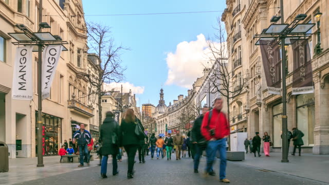 4K Time Lapse :City Pedestrian crowded Antwerp