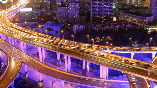 time lapse - city traffic at night (panning) - motorway stock videos & royalty-free footage