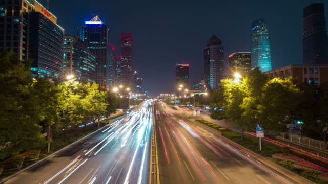 Time Lapse- City Traffic of Beijing at Night (WS RL Pan)