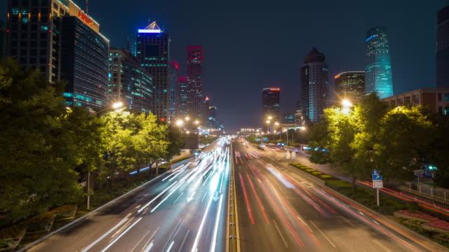 Time Lapse- City Traffic of Beijing at Night (WS LR Pan)
