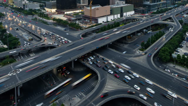 Time Lapse- City Traffic of Beijing, Guomao Bridge (MS HA Zoom out)