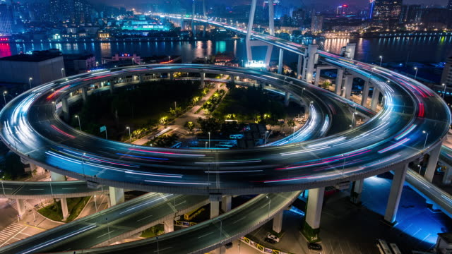 Time Lapse- City Traffic of Shanghai at Night, Nanpu Bridge (MS HA RL Pan)