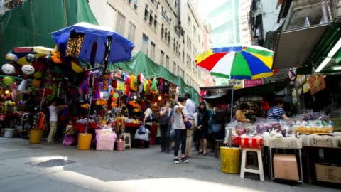 time lapse city view market hong kong china - hong kong island stock videos & royalty-free footage