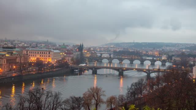 ws time lapse cityscape at dawn,prague,czech republic - prague bridge stock videos and b-roll footage