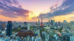 4K. Time lapse Cityscape at Tokyo city with Tokyo Tower in japan
