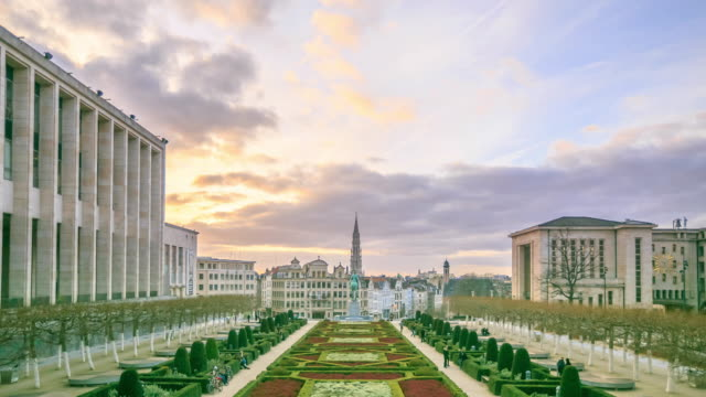 4k time lapse : cityscape brussels - brussels capital region stock videos & royalty-free footage