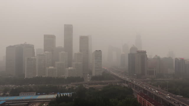 Time Lapse- Cityscape of Beijing in air pollution (Panning)