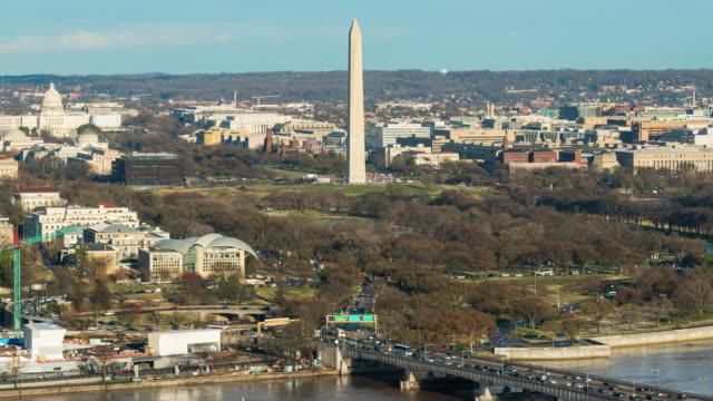 time lapse cityscape of lincoln memorial, washington monument and united states capitol building in washington, d.c., usa - washington dc stock videos & royalty-free footage