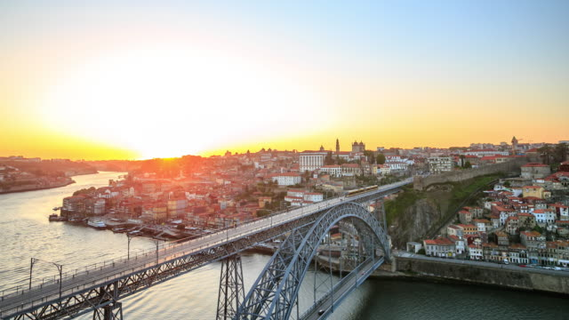 4K Time Lapse : Cityscape Porto sunset