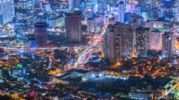 4K, Time lapse Cityscapes at night of South Korea