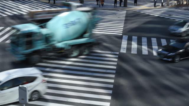 4K Zeitraffer Clip Menge und Auto, Kreuz-Spaziergang Ginza Verkehr, Japan-Tokyo city